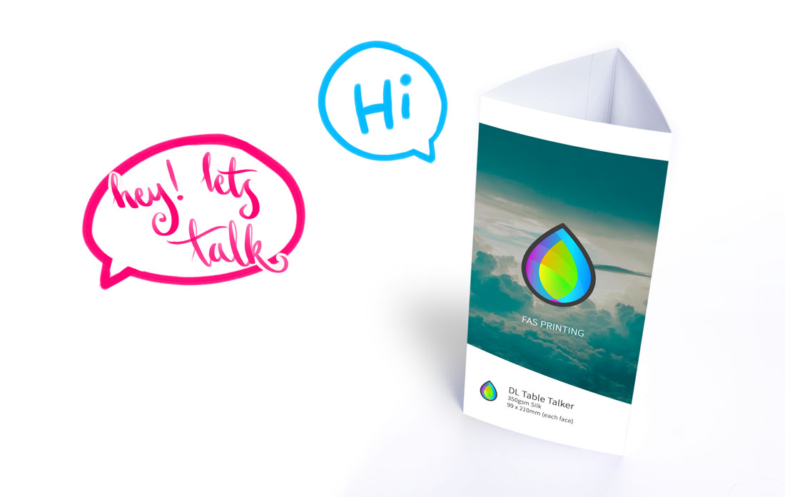 Table Talkers - speech bubbles - hey let's talk. Hi!