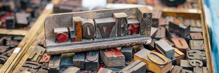FAS Printing type blocks spelling love
