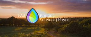 Hayes printing services - FAS logo over view from stockley park